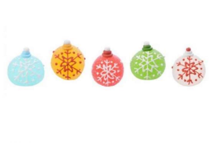 Palline Di Natale.Palline Di Natale Di Zucchero Per Dolci E Torte