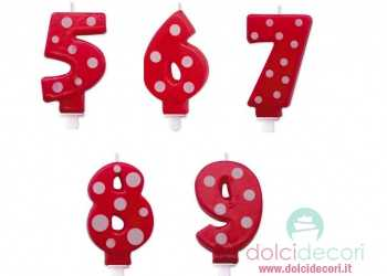Candeline numero a pois rosso