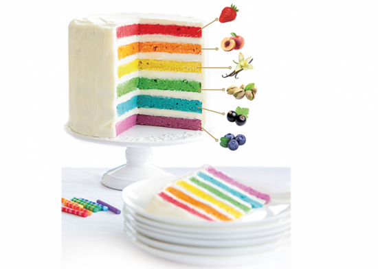 Rainbow cake mirtillo