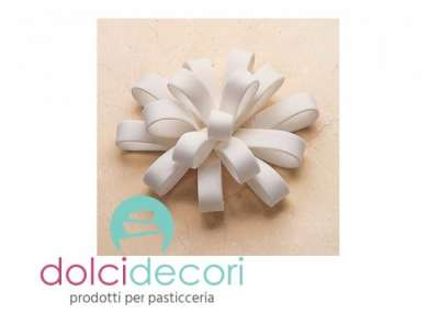 Fondant bow and loops - coccarda bianca